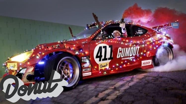 Santa swaps his sleigh for a Ferrari-powered Toyota