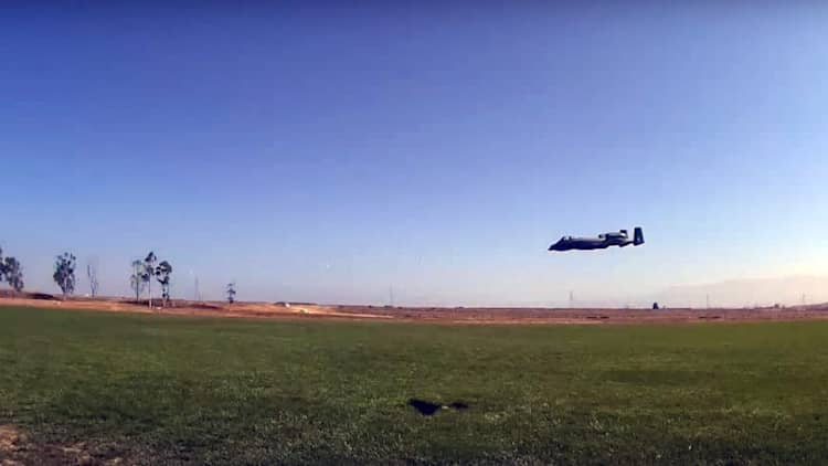 Someone armed an A-10 Warthog RC plane with an adorable baby cannon