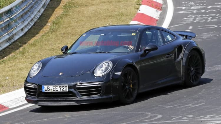 Next Porsche 911 Turbo S spotted at Nurburgring with wide body