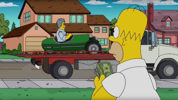 Jay Leno on The Simpsons in a Morgan 3 Wheeler and a Citroen