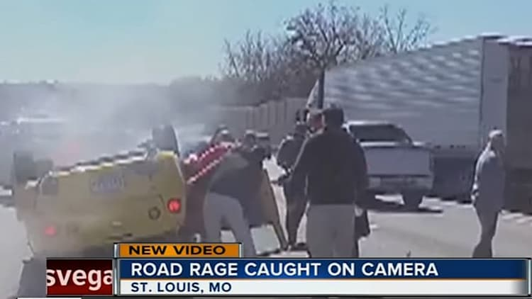 Road rage causes car to flip four times at high speed