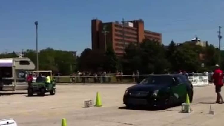 Watch GM engineer's Cadillac CTS-V wagon blow its airbag during autocross run