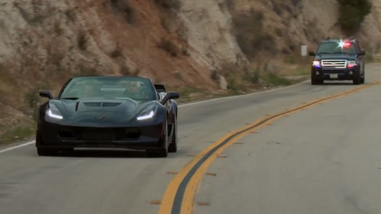 Jay Leno gets pulled over while roaring in a Corvette Z06 convertible