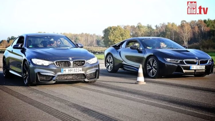 BMW M4 pitted against i8 in drag race