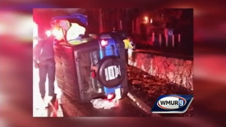 New England Patriots player helps driver of rollover crash