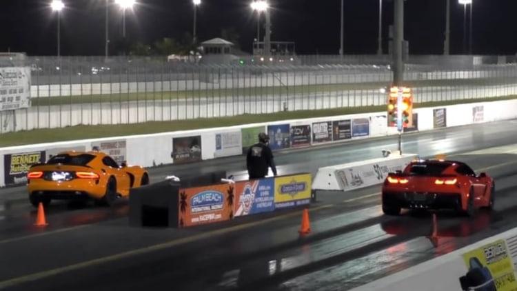 Corvette Z06 and Viper TA square off at the strip