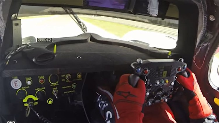 Evo drives the Audi R18 E-Tron Quattro on track