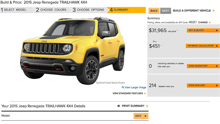Jeep Renegade configurator switches on