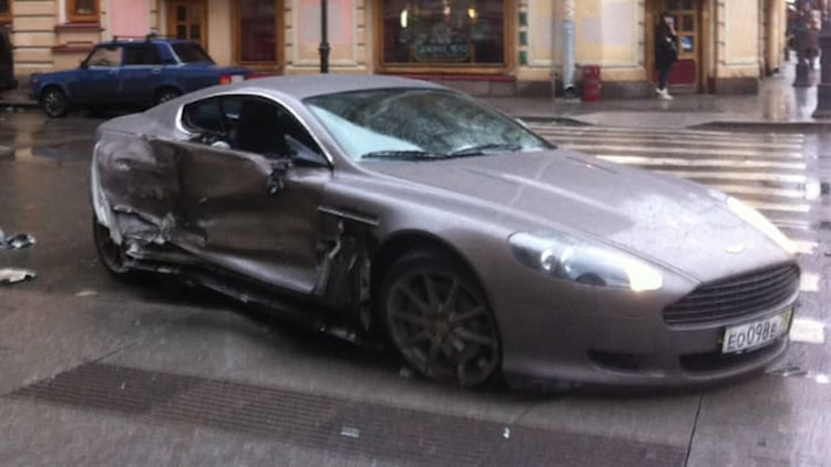 15-year-old Russian footballer crashes Aston Martin he's owned for 3 days