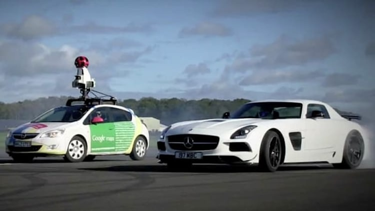 Google Street View car versus The Stig in Mercedes SLS is not a fair fight