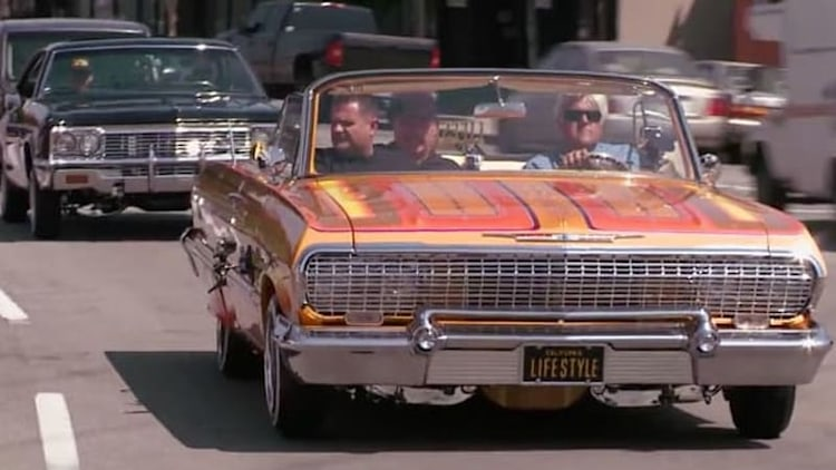 Leno lives the lowrider life with a pair of Chevy Impalas