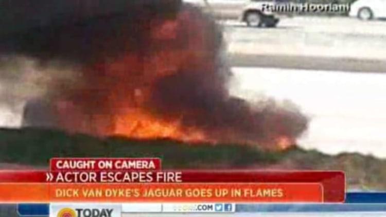 Dick Van Dyke escapes his flaming Jaguar on the 101
