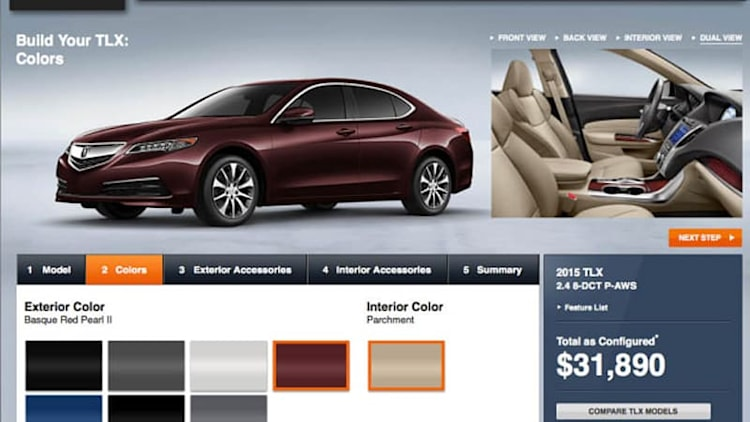 2015 Acura TLX configurator ready to spec your 'red carpet athlete'
