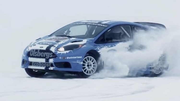 Ford Fiesta rally car warms up in Sweden