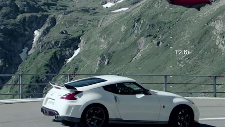 Nissan 370Z Nismo races man in wingsuit