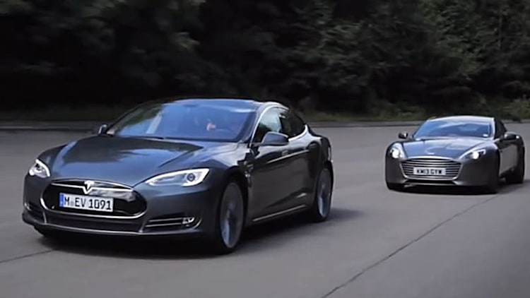 Tesla Model S squares off against Aston Martin Rapide S