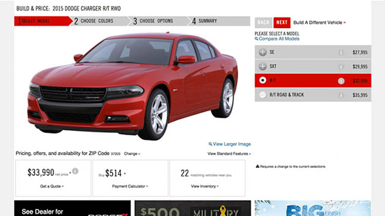 2015 Dodge Charger configurator opens up shop