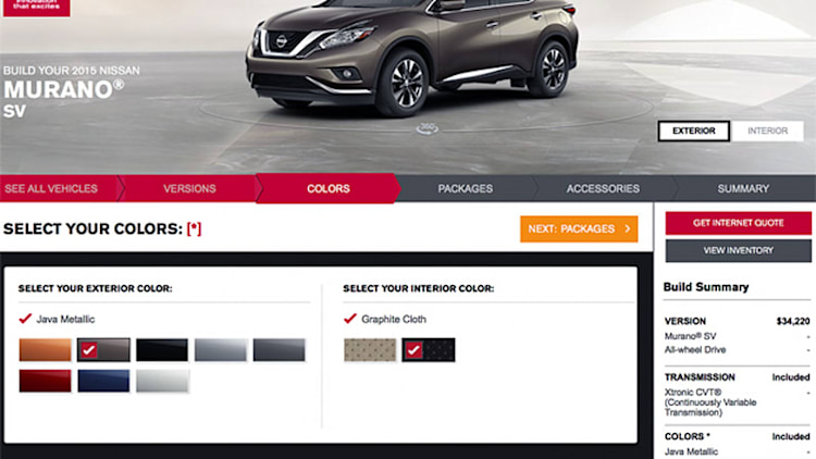 2015 Nissan Murano configurator is lux'd and loaded