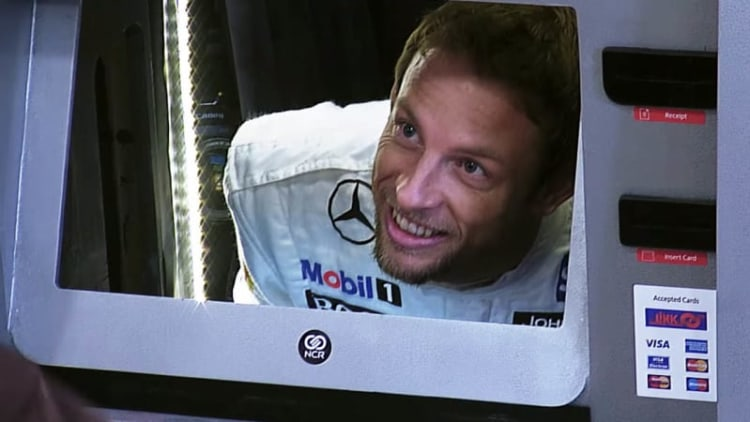 ATM customers push the Jenson Button to meet their Secret Santander