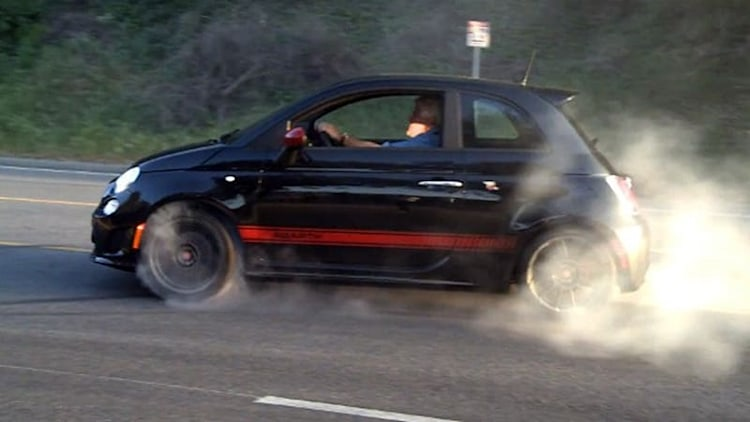 Jay Leno burns rubber in a Fiat 500 Abarth