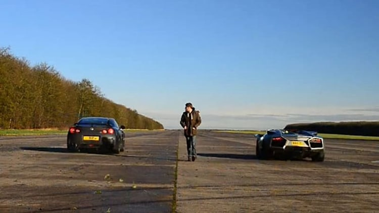 Runway Rumble: Nissan GT-R, Ducati 1098 and Lamborghini Reventon Roadster battle it out