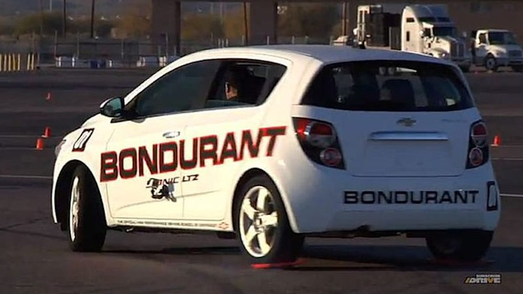 Watch 79-year-old Bob Bondurant learn how to drift on lunch trays