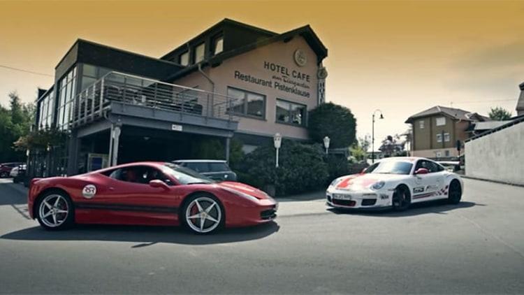 'Ring Queen Sabine Schmitz battles Ron Simons in Porsche vs Ferrari scrap