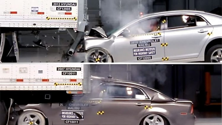 Watching IIHS test semi trailers for safety is frightening