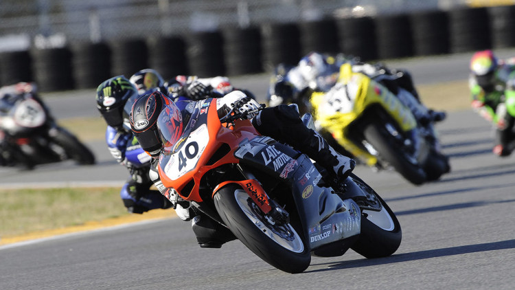 Jason DiSalvo leads the Daytona 200
