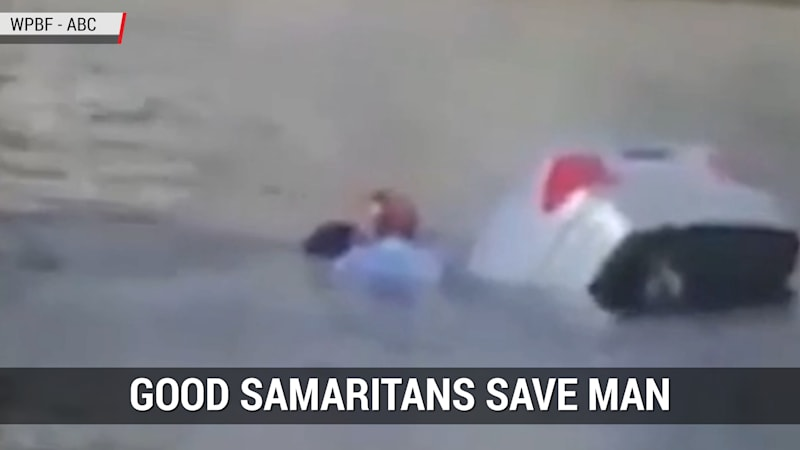 Good Samaritans rescue driver from sinking car in Florida