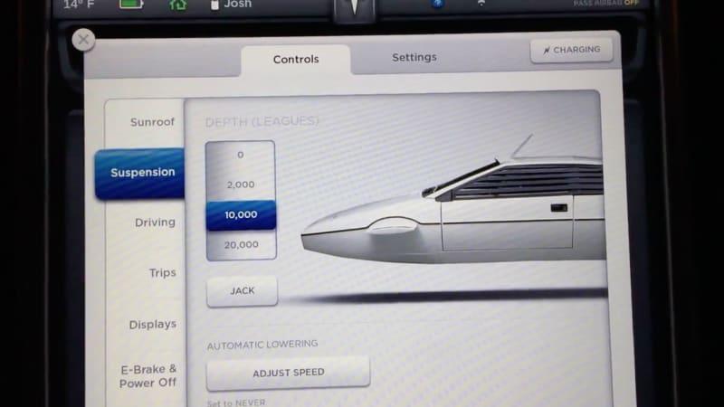 Tesla Model S Easter egg turns car into submarine