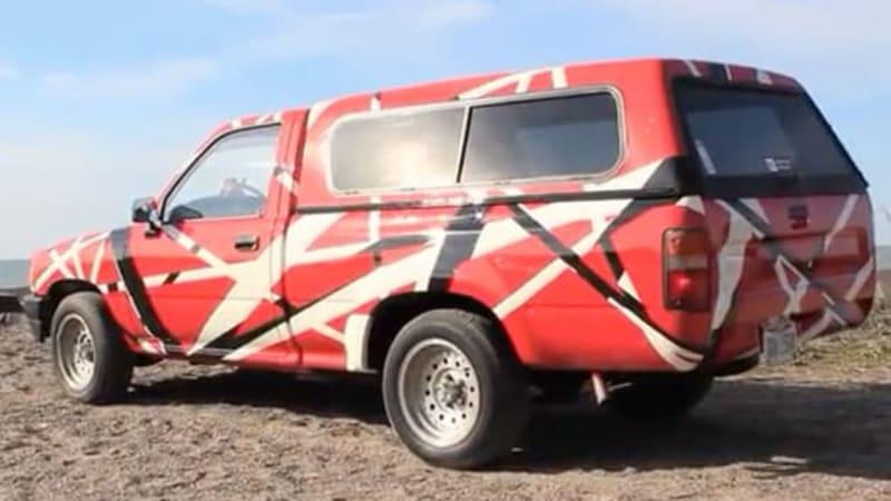 Watch this dude paint his Toyota pickup like Eddie Van Halen's guitar