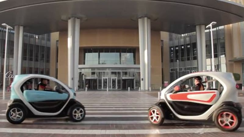 Watch Lotus F1 team careen through a mall in Renault Twizy EVs