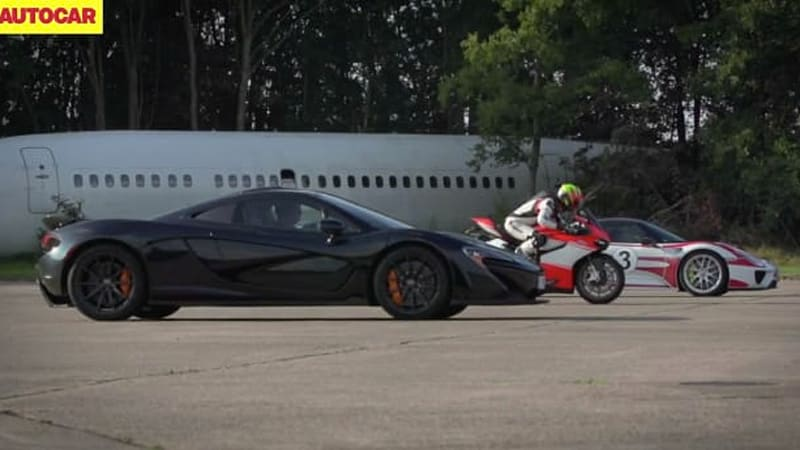 McLaren P1 vs Porsche 918 vs Ducati 1199 Superleggera in epic standing-mile drag race