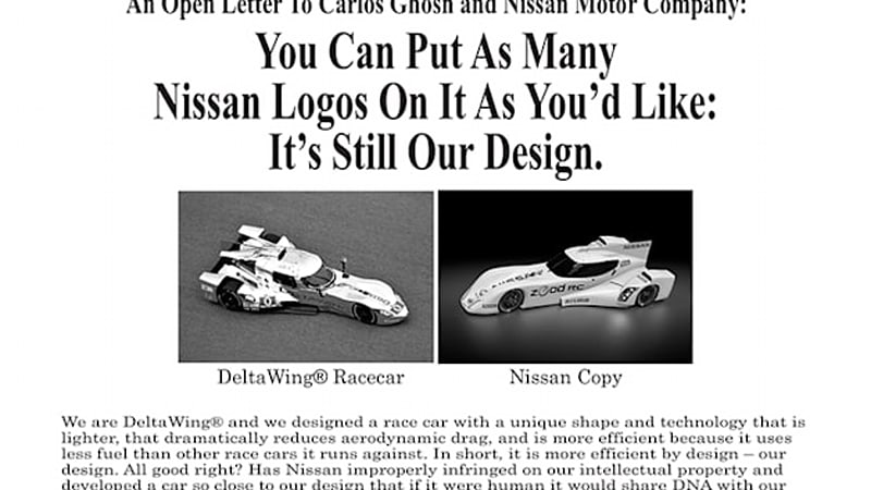 Deltawing takes out second ad targeting Nissan amidst design lawsuit