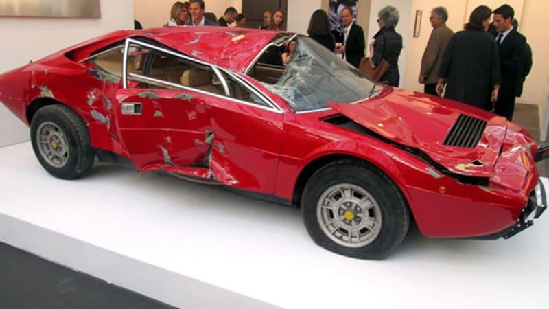Totaled Ferrari Dino sculpture sold for $250k - Autoblog