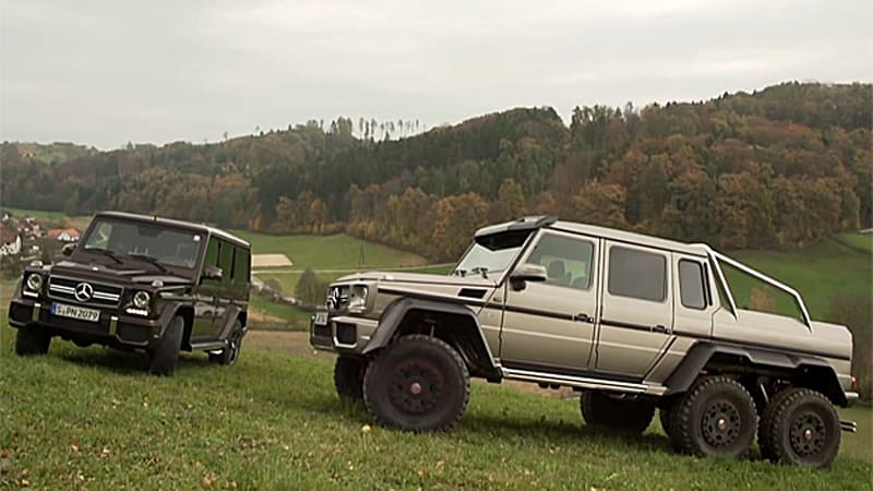 mercedes g63 amg 6x6 pitted against g63 amg in gel ndewar autoblog. Black Bedroom Furniture Sets. Home Design Ideas