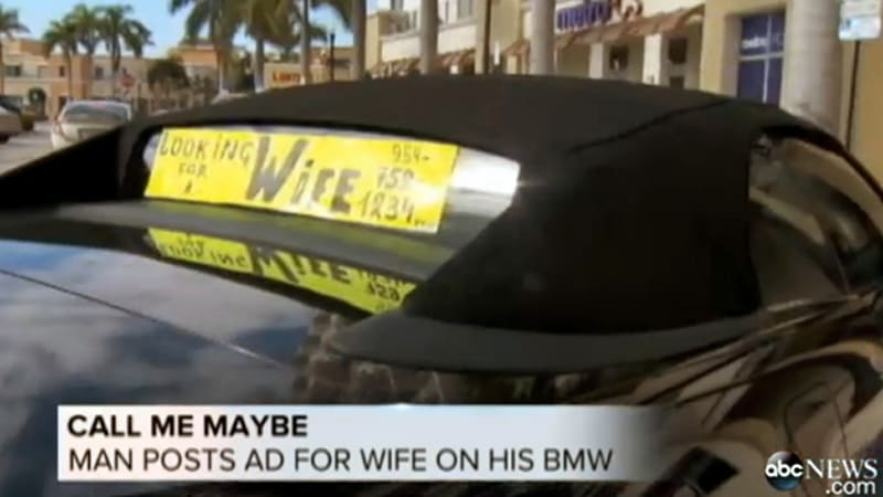 Florida man uses BMW to advertise for a wife