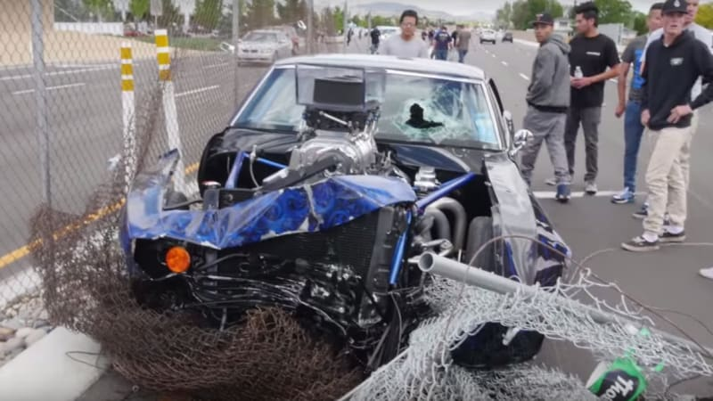 Chevy Camaro crashes at Cars and Coffee, Mustang fans laugh