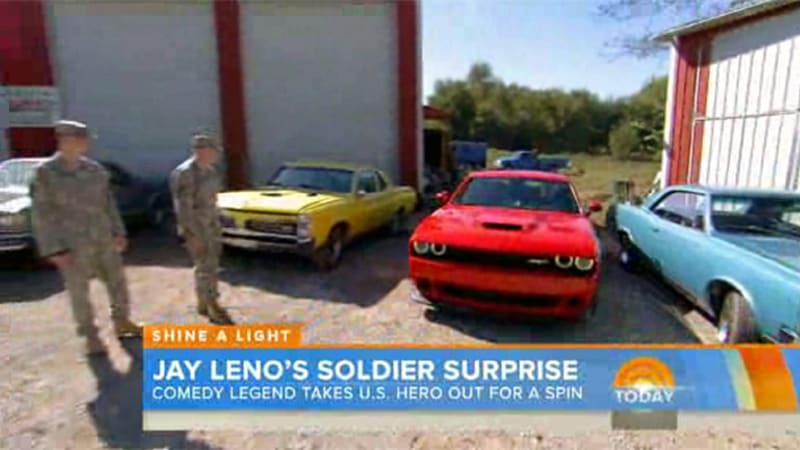 Jay Leno gifts army vet Challenger Hellcat on Today Show