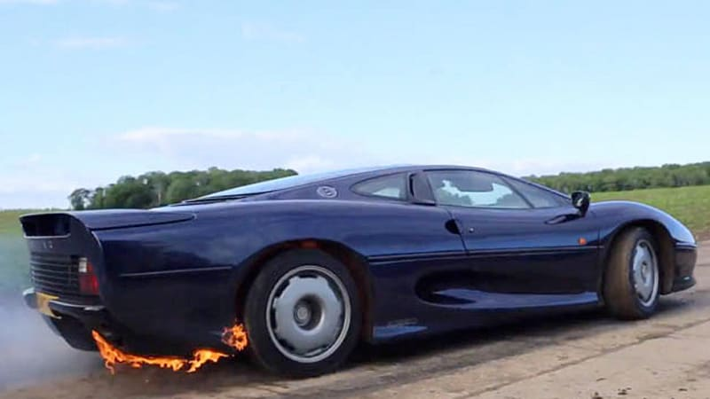 Watch This Jaguar Xj220 Perform A Fiery Burnout Autoblog