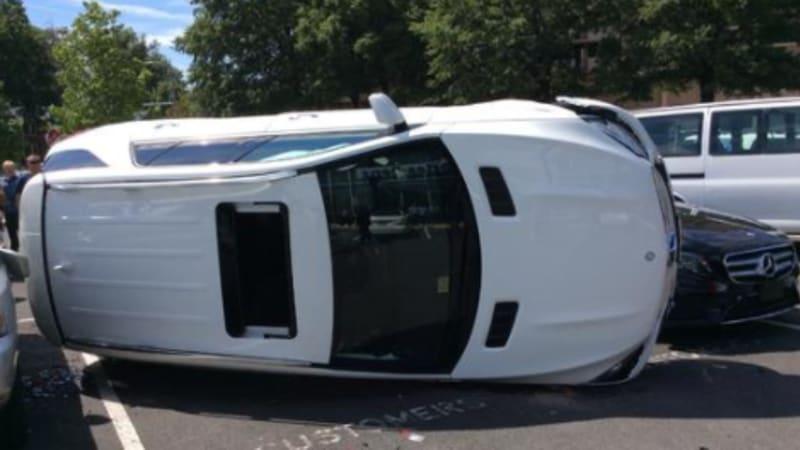 Woman flips Mercedes six seconds into test drive