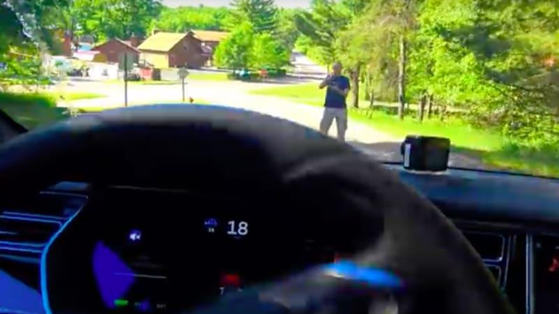 Tesla goes one for three in DIY pedestrian-avoidance test