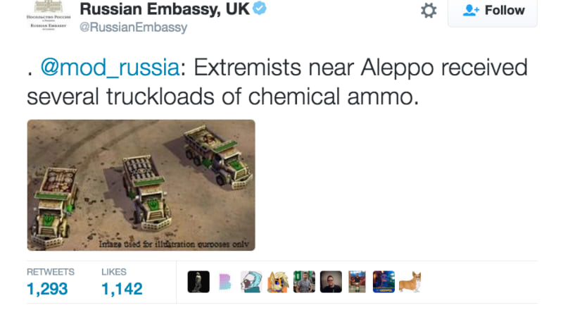 Russian embassy tweets fake picture of dump trucks as news