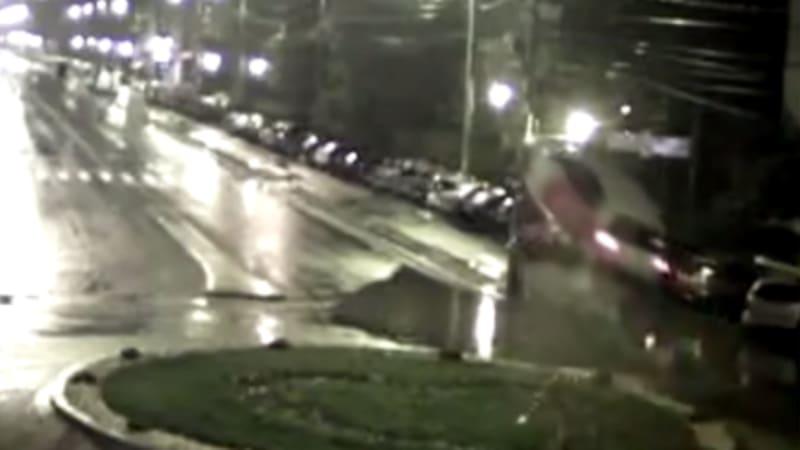 Romanian driver literally flies through roundabout