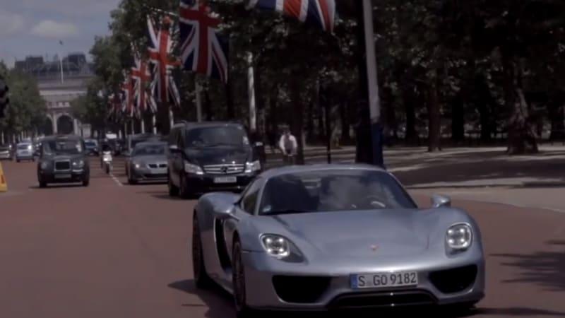 Porsche 918 Spyder roars electric through London