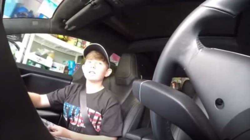 Dad pranks kid using Tesla's summon feature