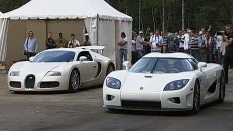 bugatti veyron vs koenigsegg ccxr in white hot drag race autoblog. Black Bedroom Furniture Sets. Home Design Ideas