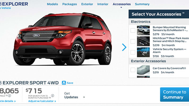 ford configurator prices new 2013 explorer sport from 40 720 autoblog. Black Bedroom Furniture Sets. Home Design Ideas