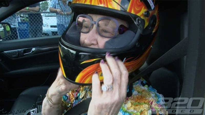 60-year-old woman takes her 11-second AMG to the track